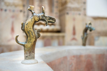 Golden water handle in the bath of Emir Bachir Chahabi Palace Beit ed-Dine in mount Lebanon Middle east, Lebanon