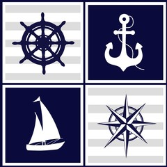 Marine patterns with nautical elements