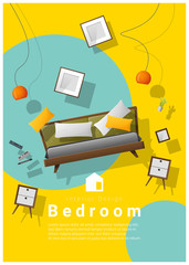 Vertical interior banner sale with bedroom furniture hovering on colorful background , vector , illustration