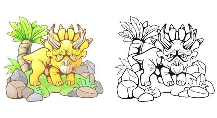 cartoon cute prehistoric triceratops, funny illustration