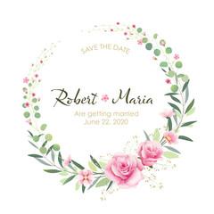 Beautiful pink floral wedding invitation card. Vector