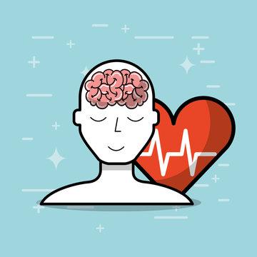 silhouette man brain heart mental health medical vector illustration