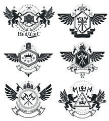 Heraldic Coat of Arms, vintage vector emblems. Classy high quality symbolic illustrations collection, vector set.