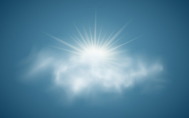 Realistic sun with clouds. Sunlight. Sun rays. Transparent clouds. Vector illustration. Summer time. Vector illustration