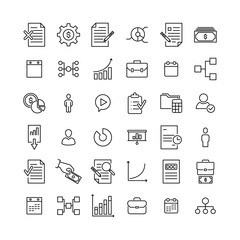 Set of premium management icons in line style.