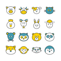 Set of vector line animals icons for web design