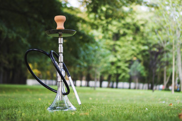 Hookah shisha smoke on park background