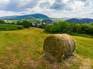 Straw bales on the field near Saschiz fortified church in Saschiz villages, Sibiu, Transylvania, Romania. Agriculture landscape, green field and clouds on blue sky. A green meadow with rolled up wheat