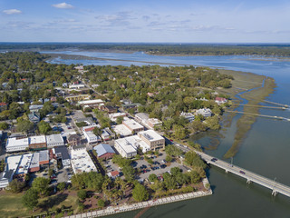 Aerial view of historic downtown area of Beaufort, South Carolina.