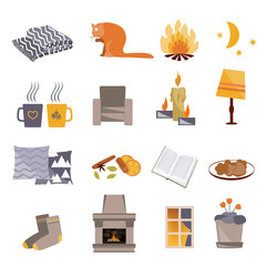 Time to Hygge. Flat icons set. Vector