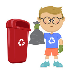 Little boy holding stinky trash bag and throwing it on recycle bin