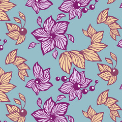 Seamless vector graphic pattern with leaves, beads and flowers made in abstract line style