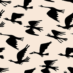 Background of silhouettes of fictional birds