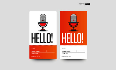 Hello ID Tag Card with Mic Illustration Name Department Details for Meetings and Seminars