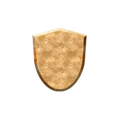 Metal textured badge in form of shield.