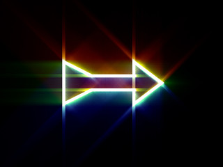 Glowing arrow on black background. Digital illustration.