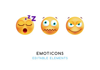 Set of Cute Emoticons on White Background . Isolated Vector Illustration
