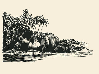 Tropical Coast With Palm Trees And Rocks. Hand Drawn Decorative Design Element In Engraving Style. Vector Illustration.
