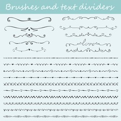 Big set of Valentine's hand drawn brushes and text dividers. Vector illustration