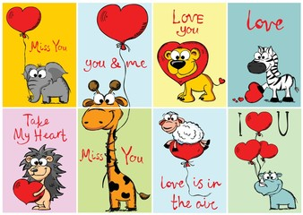 Set of 8 Vector Valentine's cards with cute animals and hand drawn funny texts.