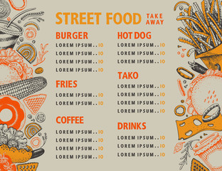 Fast food hand drawn vector illustration. Street food banner design template. Can be use for fast food restaurant or cafe menu or packaging design.