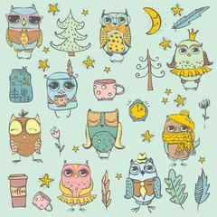 Cute hipster owls set.