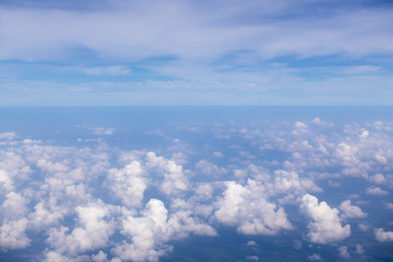 landscape look down from the airplane look see the sky and cloud beautiful