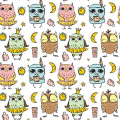 Cute owl pattern seamless on the transparent background