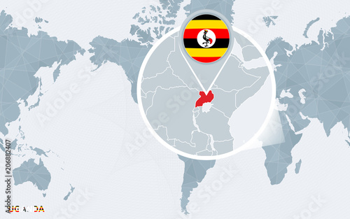 World map centered on America with magnified Uganda.\