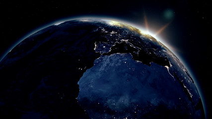 Highly detailed realistic epic sunrise over planet Earth. Europe night city skyline view from space. Globe lits up on morning from the Sun. 3D illustration using satellite imagery (NASA) in 4K