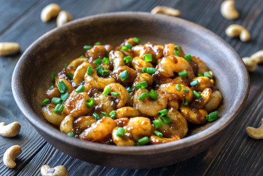 Portion of cashew shrimp stir-fry