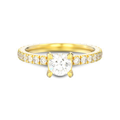 3D illustration isolated gold diamond engagement wedding ring with shadow