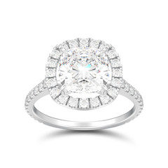 3D illustration isolated silver engagement wedding cushion diamond ring with shadow