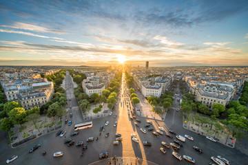 Fotomurales - Place Charles-de-Gaulle und Skyline von Paris, Frankreich