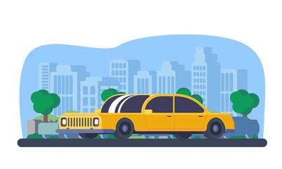 Sedan car with city background.