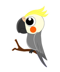 Cute cartoon parrot vector illustration isolated on white backgr