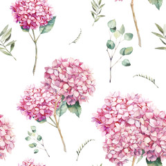 Watercolor pink hydrangea seamless pattern. Hand painted botanical texture with garden flowers, herbs, branches and eycalyptus leaves. Natural wallpaper design on white background