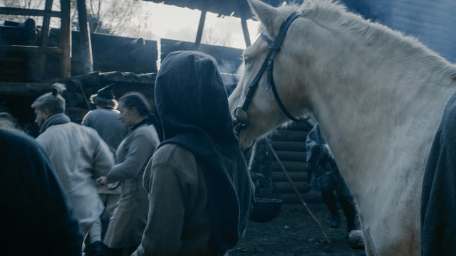 Medieval Reenactment. Life in the Yard of the Wooden Fortress, People with Horses. Assassin.