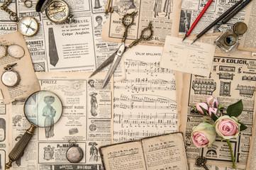 Antique books music notes postcars magazine news paper