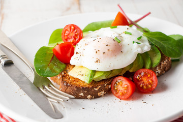 Healthy breakfast with avocado and poached egg toast