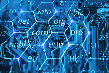 Internet domain name registration. Online url address for business company. Com, biz, info, edu and other domains in hexes on integrated circuit.