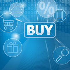 Buy button. Vector illustration of a touch screen with a representation of internet shopping.