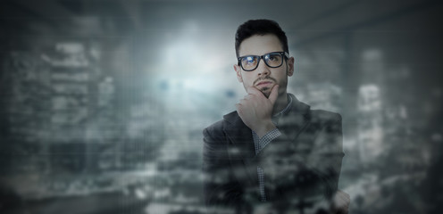 thoughtful businessman, concept of creativity and development