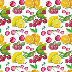 Tropical summer pattern with watercolor fruits