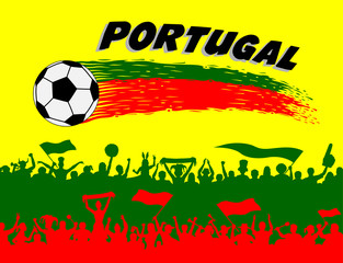 Portugal flag colors with soccer ball and Portuguese supporters silhouettes
