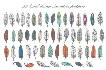 set of hand-drawn decorative feathers. Vector