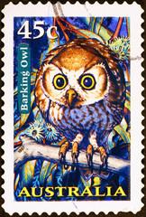 Barking owl on australian postage stamp