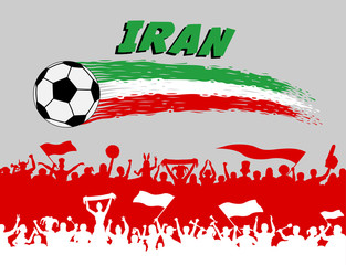 Iran flag colors with soccer ball and Persian supporters silhouettes