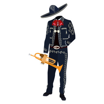 Mariachi musician with trumpet vector illustration