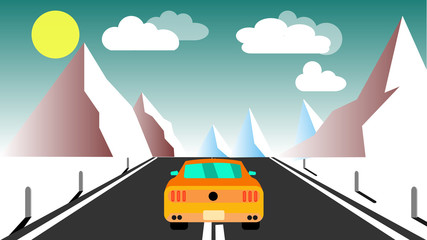 Yellow sporty fast beautiful powerful car rides along the road against a background of a mountain winter landscape and evening clouds and copy space. illustration